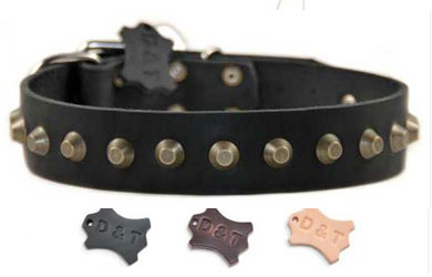 dean and tyler leather studded dog collar