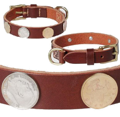 Leather Dog Collar with Coin Ornaments