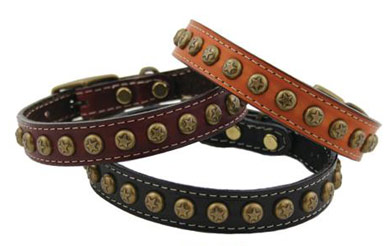 leather dog collars studs and plates